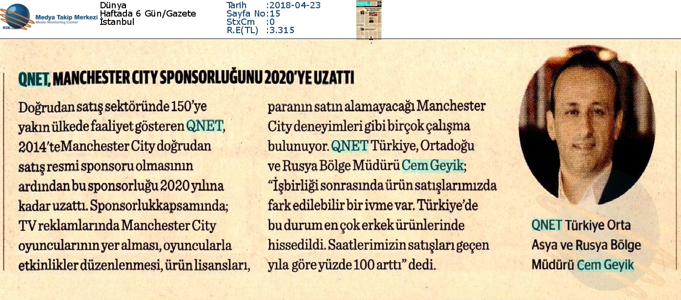 QNET, MANCHESTER CITY SPONSORLUĞUNU 2020'YE UZATTI